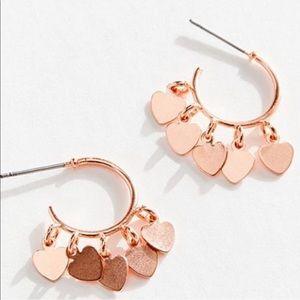 Rose Gold Copper Dainty Mini Hearts Hoop Earrings